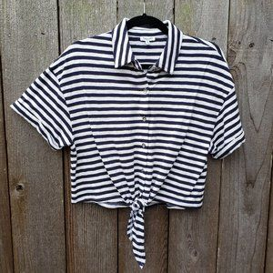 Splendid Striped Cropped Tie Front Top - S